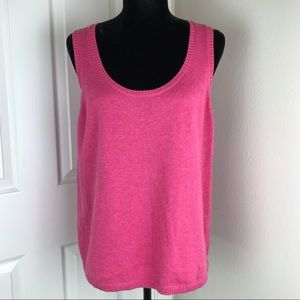 Eileen Fisher hot pink cotton/cashmere blend tank